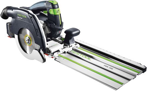 HKC 55 cordless portable circular saw with new FSK trimming rail