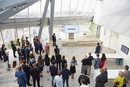 Guests were introduced to Ecobuild's new branding and logo when it was unveiled at its new headquarters at 240 Blackfriars as part of new plans for the event