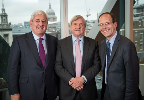 Paul Drechsler with outgoing president Sir Mike Rake and CBI director-general, John Cridland