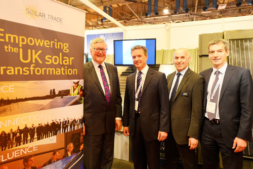 Scottish energy minister Fergus Ewing (left) with key members of the Solar Trade Association at the All Energy conference in May