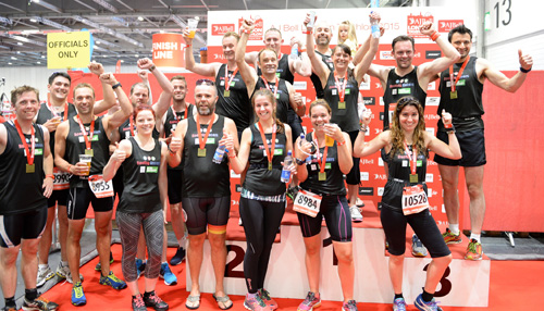 The Roofing Racers celebrate their success in 2015's London Triathlon.