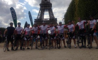 The Avonside team made it to the Eiffel tower after four days of cycling