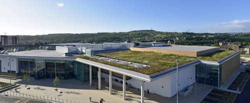 Huddersfield Leisure Centre with the Protan SE prefabricated single ply membrane and its ProGreen green roof system