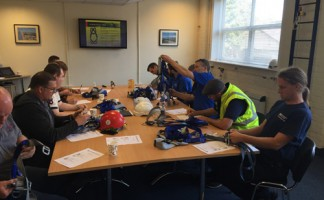 Attendants to Eurosafe Solutions' latest training course get to grips with harness and lanyard training