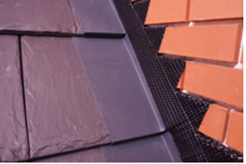 Pre-formed secret gutters and individual soakers for use with single lapped flat tiles are available in materials such as GRP
