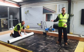 Ian Muddiman, head of applications at Sika, doing a demonstration
