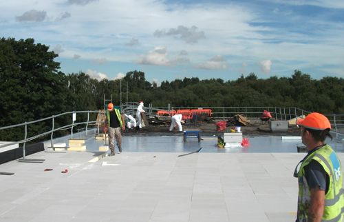 The roof of the Asda store in Scunthorpe during the refurbishment
