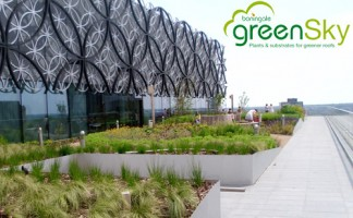 The green roof gardens at Birmingham's £188.8 million library. 10,000 plants, grown to order by Boningale, were used to create the two rooftop terraces