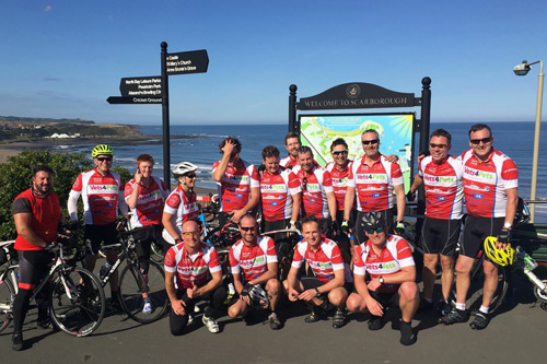 Some of the fundraisers who participated in the charity bike ride in memory of Martin Hanks