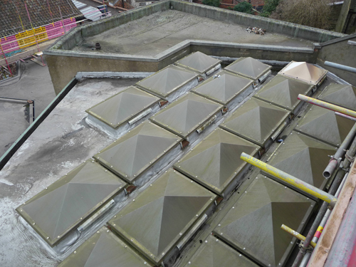Stages of the refurbishment: 1. The original continuous metal rooflights