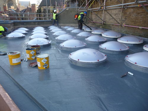 3. The new rooflights and Decothane Delta 25 covering