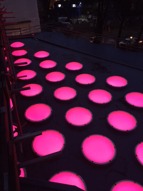 4. The finished roof with coloured-changing LED lighting (right)