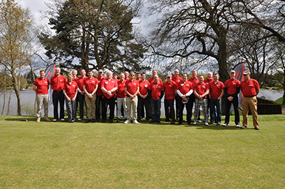 The group of 21 commercial roofing contractors attended a presentation with an update about the company's latest news and achievements before taking to the fairway to start the afternoon with a swing