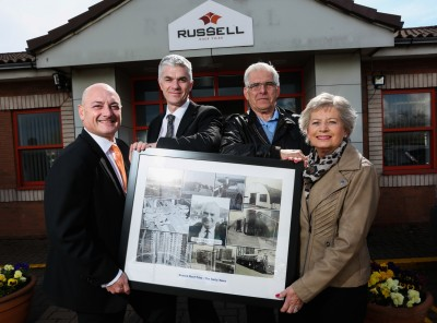 (L-R) Andrew Hayward and Bruce Laidlaw from Russell Roof Tiles, with Paul and Mary Colburn (daughter of John Gibson – founder of Russell Roof Tiles)