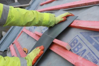 Fibre cement slates can be cut on site by hand