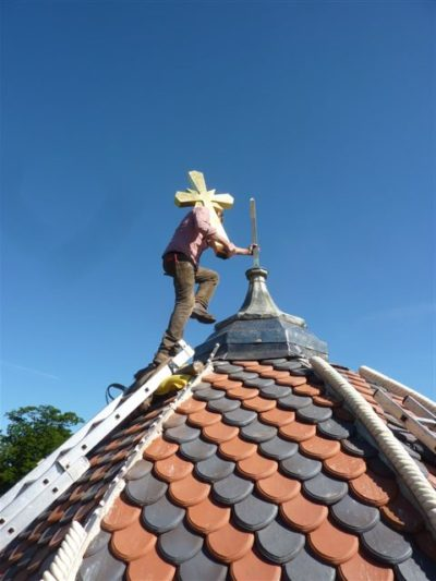 """An innovative way of securing some special 'Barley Twist' hip ridges on a recent church re-roof project"""