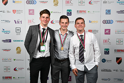 The winner of SkillBuild 2016 - William Emerton. He is pictured alongside Silver medalist Sam Blount (right) and Bronze medalist Andrew Emerton (left)