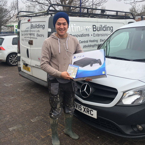 Assad Kadri from Building Services was one of the seven speedy Actis Hybris insulation installers who Beat the Team (aka the Actis sales managers) to win a Playstation 4 and FIFA 17