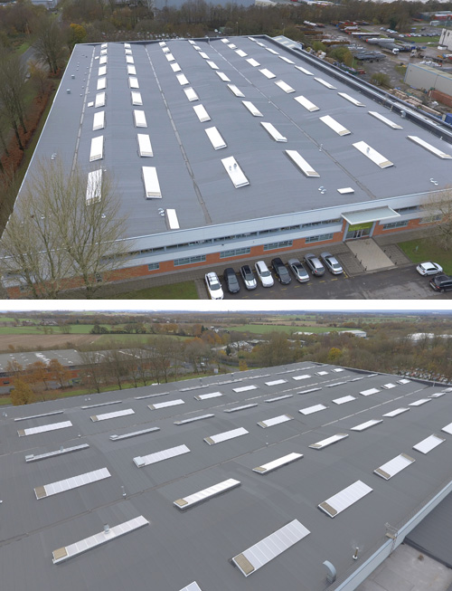 The optimal solution was for approved contractor BBR Roofing to strip off the existing deteriorated and delaminating, oxidised bituminous capping sheet and overlay the underlayer with 12,500m² of Bauder's two layer bituminous system Bauderflex