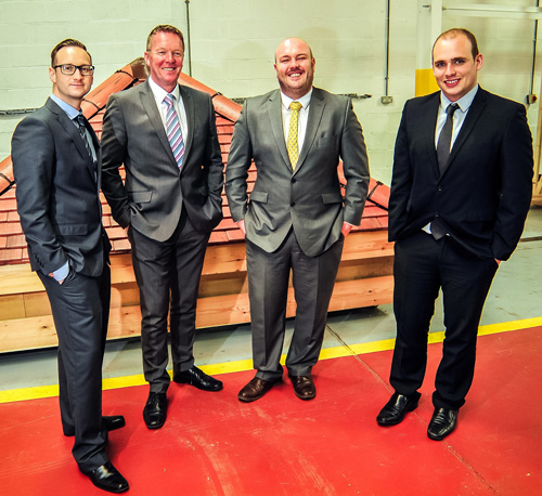 (L-R) RRT Sales team Ross Hayward, Scott Summers, Gordon McKinnon and Rhodri Jones