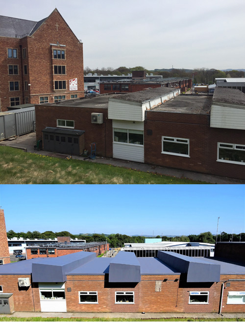 The image above shows the roof at Hopewood Hall College before the refurbishment and the image below shows the finished project