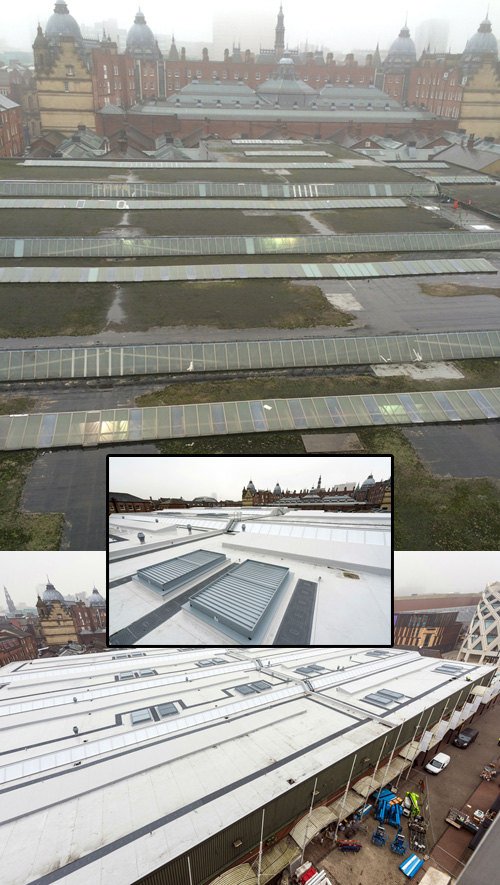 Before and after the Sarnafil Plus roof refurbishment of Kirkgate Market, Leeds