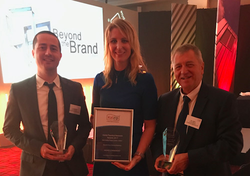 (Left to right) James Keery – regional operations manager, Ashleigh Thompson – business development director, Alex Miller – operations director, receiving the awards