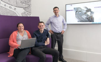 (Left to right) Joanne Pringle, global product manager at NBS, Alan Smith, NBS labs manager and Stephen Hamil, director of research and innovation at NBS.