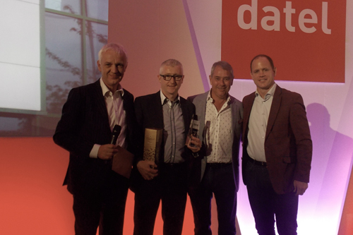 L-R: David Preston, managing director, Datel; Paul Walters, sales and marketing director, Bond It; Alan Simpson, executive chairman, Datel; and Kyran Bracken MBE, the former England rugby union player, who presented the awards on the evening.