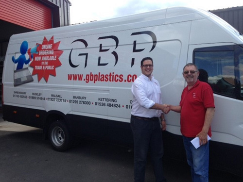 General manager at GB Plastics, Matt Wedderkopp (left) presenting driver Alan Tooth with his prize of £50 in vouchers for being voted the company's Driver of the Year 2017.
