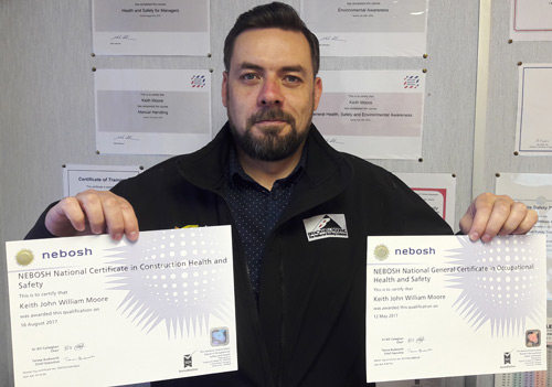 Keith Moore is Bracknell Roofing's third employee to achieve the NEBOSH accreditation