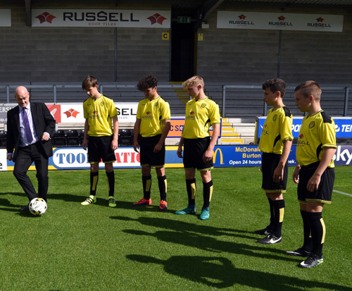 Andrew Hayward with Burton Albion U15 team at the Pirelli Stadium