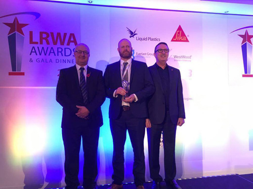 (L-R) Chris Bussens, LRWA training Ccordinator, Paul Sutherland collecting his award and Cliff Weston, chairman of the LRWA