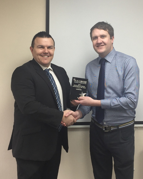 Scott Tavener, Norbord's business development manager for Scotland and Northern Ireland (left) and Dan Andrew, Buildbase's key account manager (right).