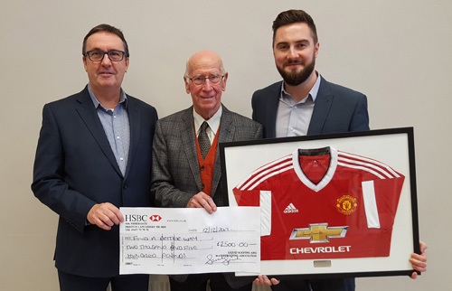 Left to right:  Cliff Weston, LRWA chairman, Sir Bobby Charlton, founder of Find A Better Way charity and David Broom, director of Moy Materials.