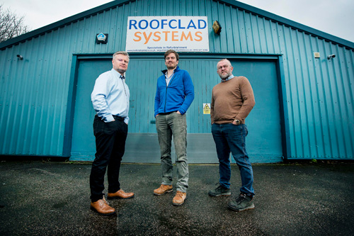 Left to right: Phil Sharratt, regional manager, Alex Tilley, managing director and Dave Tilley, chairman all from Roofclad Systems
