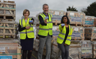 Left to right: Sue Kinney, Chandlers Building Supplies, Bill Hill, Construction Industry Helpline, and Lavina Appasamy, Chandlers Building Supplies.