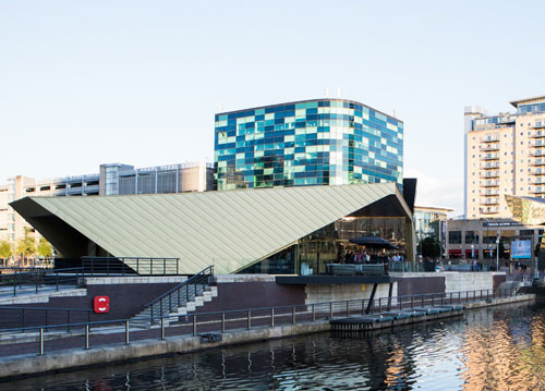 The recently completed new Alchemist bar and restaurant at Salford Quays, which features a golden building envelope installed by Longworth, created using fastening systems by SFS Photo courtesy of Artez / James Andrews.