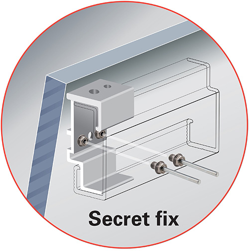 An illustration showing how the SFS TUF-S rivet provides a mechanical secret fix for rainscreen cladding panels.
