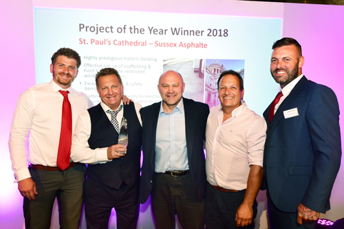 (Pictured from left to right) - Richard Lamb from Sussex Asphalte, Julian Coulter from Sussex Asphalte, Brian Moore, Matt Coulter from Sussex Asphalte and Robert Kew from Sussex Asphalte.