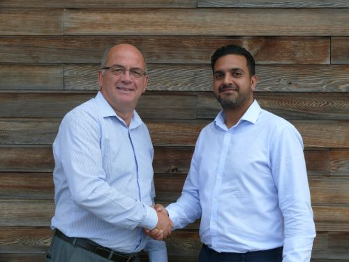 Vijay (right) is welcomed to to the company by northern sales manager Kevin Jones