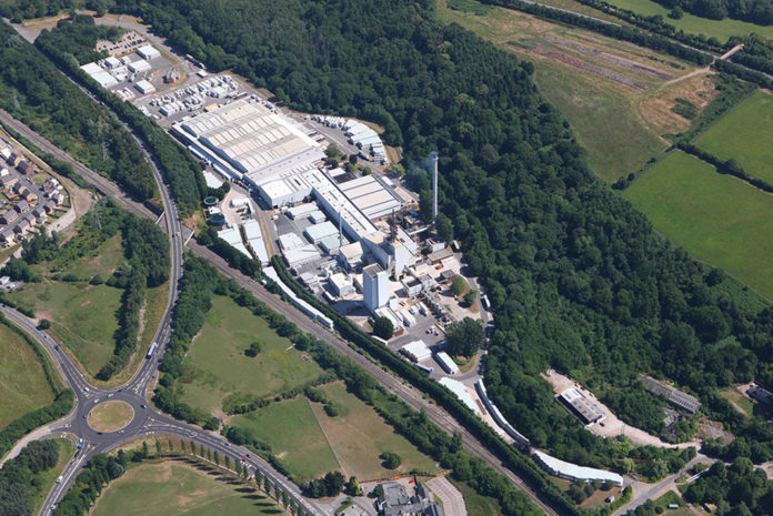An aerial shot of Knauf Insulation's Cwmbran site