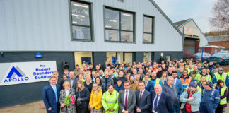 Staff at Apollo celebrate the launch of the new technical facility