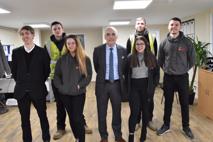 Chris Williamson MP (centre) with Browns' apprentices Brad, Ellie, Shannon & Charlie (front row) and Conor & Malcolm (back row).