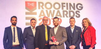 Progressive Systems receiving the award: (L-R) Levi Stephens, Luke Hardware, Brian Mack (EJOT technical manager - category sponsors) James Rayner, Chris Phillips and awards presenter Sarah Beeny.