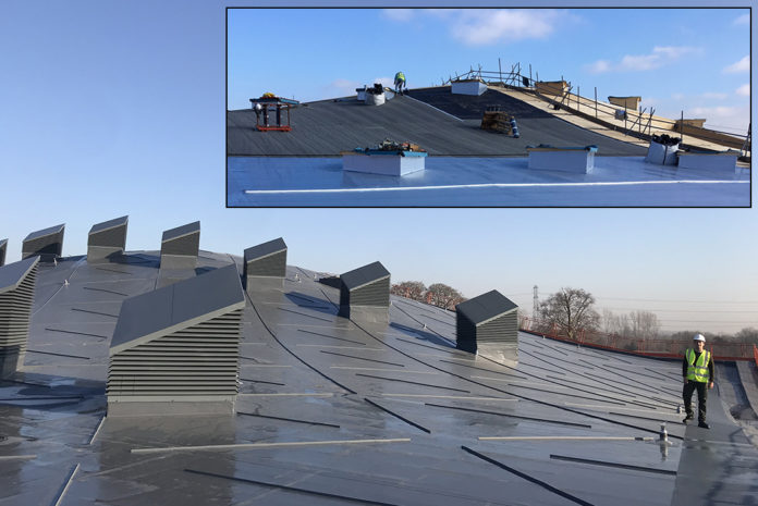 An inspiring new sports facility at St. George's Weybridge features a stunning curved Sika Sarnafil single ply membrane roof. (Image Insert: Work in progress on the facility's tree canopy-like roof structure).