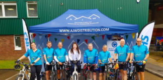 Cyclists from AJW Distribution and Seven Asset have completed a 24-hour challenge in aid of charity