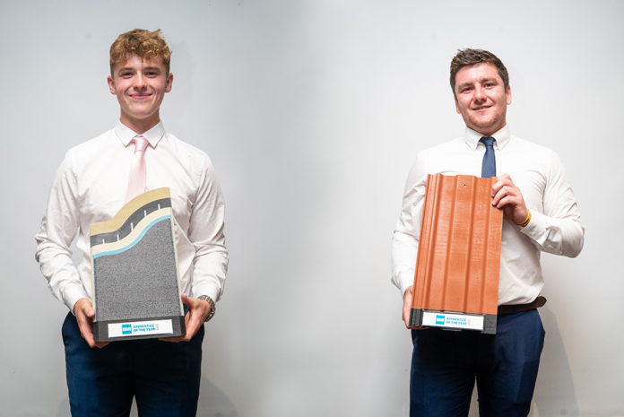 Left to right: Oscar Miller and Matthew Ford, both from Leeds College of Building, have been crowned the Icopal and Redland Apprentices of the Year 2019 respectively