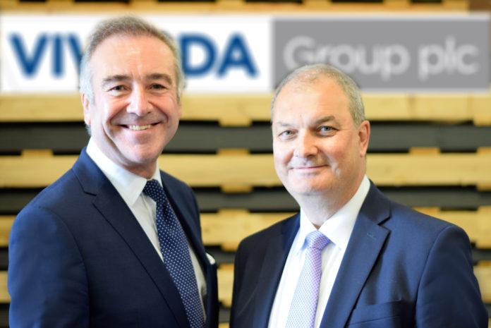 Peter Johnson (left) welcomes Chris Williams (right) to Vivalda Group