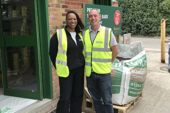 Angela Straker, branch manager and Ryan McDonald, assistant manager at Chandlers Building Supplies Banstead.